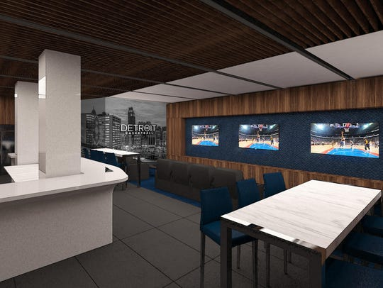 A players lounge at Little Caesars Arena, with 1,150