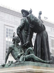This Friday, March 2, 2018 photo shows a statue of