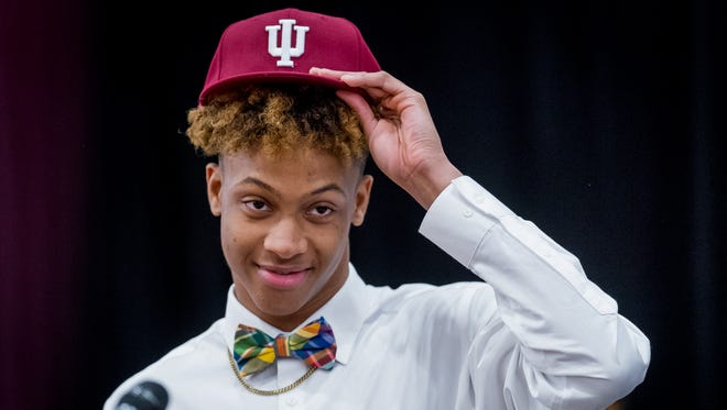New Albany High School senior Romeo Langford announces his decision to attend Indiana University to continue his basketball career.