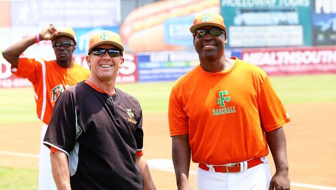 FAMU head coach Jamey Shouppe (left) smiles with Brett Richardson.