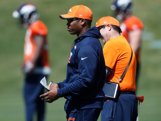 Denver Broncos head coach Vance Joseph looks on during a voluntary veteran minicamp at the team' headquarters Tuesday, April 25, 2017, in Englewood, Colo. (AP Photo/David Zalubowski)