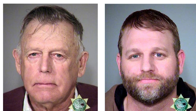 These file photos provided by the Multnomah County Sheriff's Office show, from the left; Nevada rancher Cliven Bundy and his sons Ammon Bundy, and Ryan Bundy and co-defendant Ryan Payne.