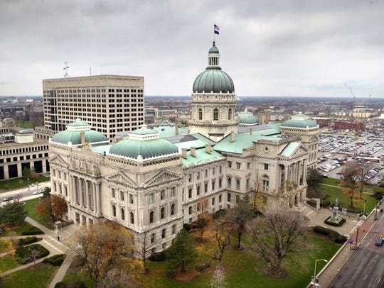 The Indiana Statehouse is seen looking off the roof