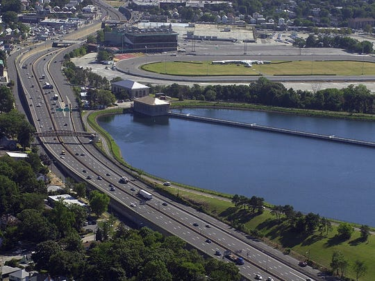 An aerial view of the Hillview Reservoir in Yonkers