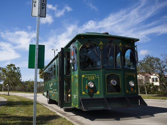 Newly christened Beach Bus vehicles replace Collier County's green trolleys used in this year's inaugural run for shuttles to the beach.
