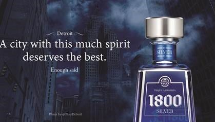 Example of one of 15 billboards featuring photography by Instagrammer Tony Majka of Detroit, advertising 1800 Tequila.