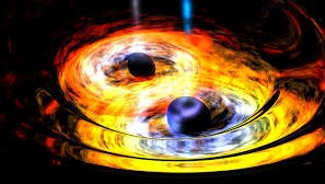 An artist's rendition of two merging black holes.
