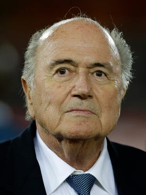 FIFA president Sepp Blatter looks on during the African Cup of Nations final soccer match between Ghana and Ivory Coast in Bata, Equatorial Guinea, Sunday, Feb. 8, 2015.