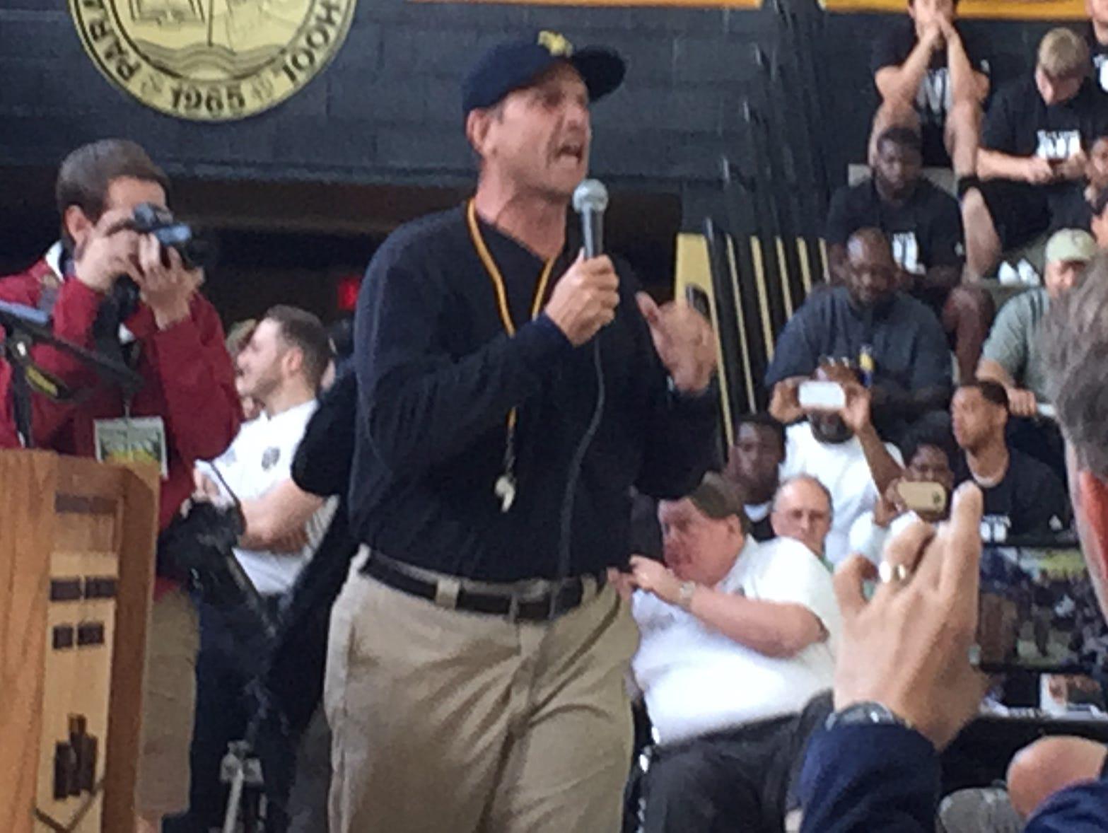 Michigan football coach Jim Harbaugh speaks June 8, 2016, at Paramus Catholic in Paramus, N.J.