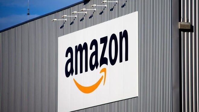 The Amazon logo is seen on the new logistics center of online merchant Amazon in France.