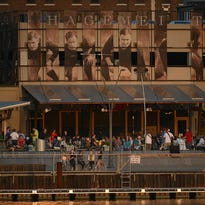 People gather at the Keggers beer garden in Green Bay on Wednesday, July 1, 2015.