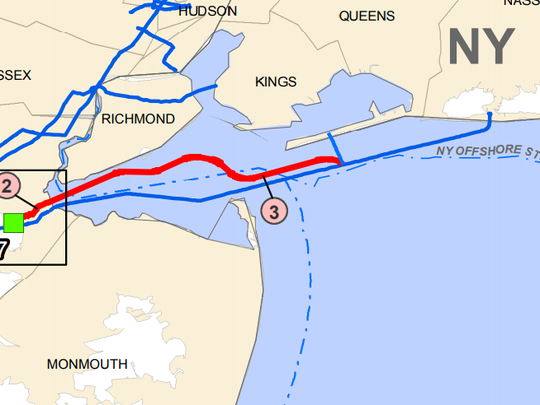 A map showing the route of the Northeast Supply Enhancement