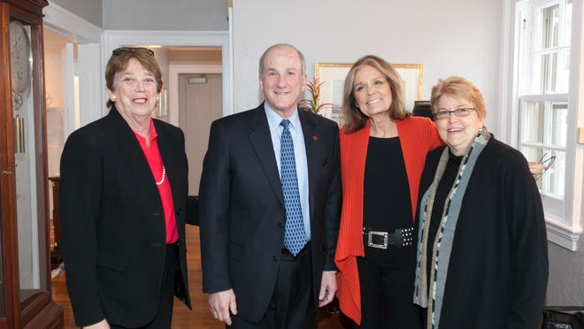 The Rutgers President's Reception for Gloria Steinem at Rutgers University. From left: Alison R. Bernstein, director, Institute for Women's Leadership; Robert L. Barchi, president, Rutgers University; Gloria Steinem; and Charlotte A. Bunch, Board of Governors Distinguished Service Professor in Women's and Gender Studies, Rutgers University.