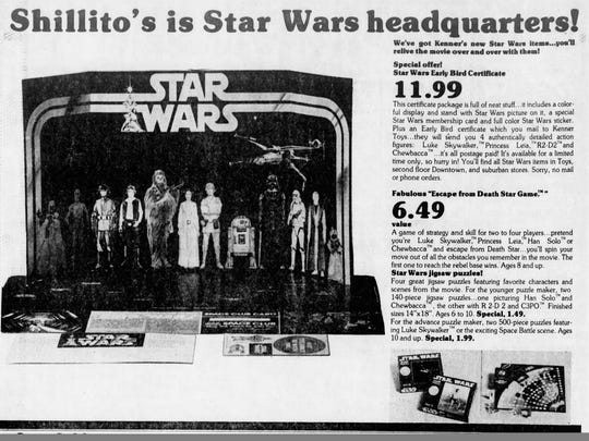 Shillito's ad for the Early Bird Certificate for the Kenner Star Wars figures, as appeared in the Cincinnati Enquirer on October 21, 1977.