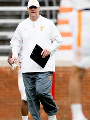 Tennessee running backs coach Chris Weinke during Tennessee spring practice at Neyland Stadium in Knoxville, Tennessee on Saturday, April 7, 2018.
