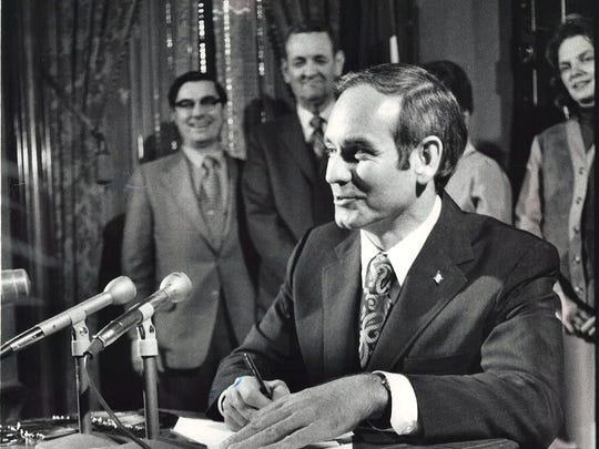 From 1972: Iowa Gov. Robert Ray signs legislation establishing Terrace Hill as a future governor's residence and repository for items from Iowa's past.