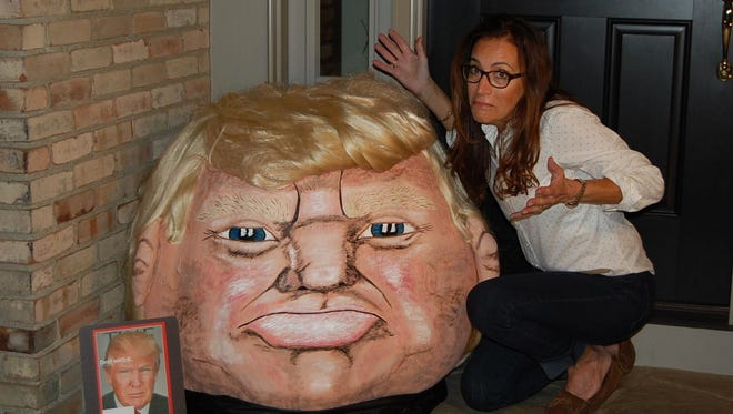 """Jeanette Paras, of Dublin, Ohio, is known for creating political and celebrity-themed pumpkins in an artistic process she calls """"pumpkinizing."""" Her past projects include pumpkins in the likeness of Barack Obama, George W. Bush, Tom Cruise and Prince Harry. In 2015, she created the """"Trumpkin."""""""