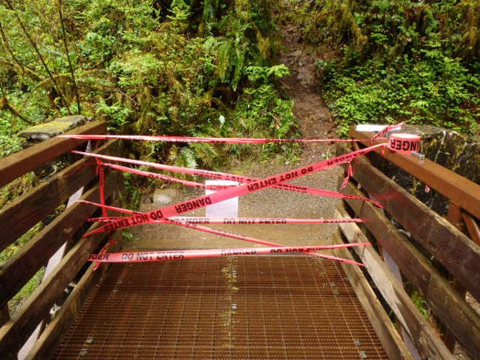 A landslide over the weekend of April 26 and 27 at Silver Falls State Park closed a roughly one-mile stretch of the popular Canyon Trail — also known as the Trail of Ten Falls —between the Maple Ridge Intersection and Lower North Falls.