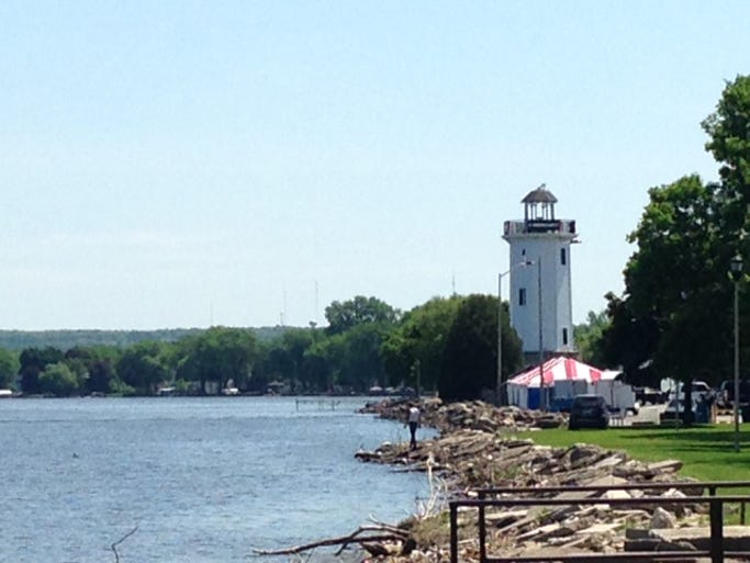 Skies were sunny and temperatures were comfortable Friday morning as volunteers set up for Walleye Weekend.