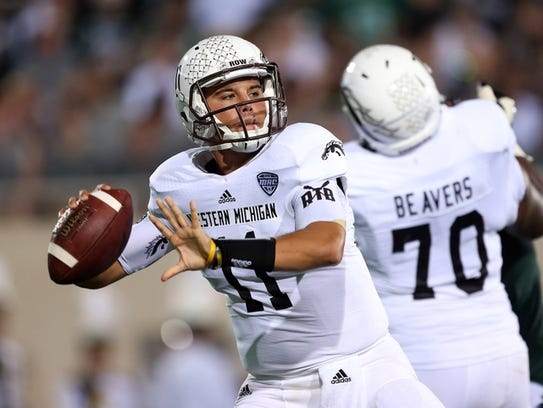Western Michigan quarterback Zach Terrell (11) threw