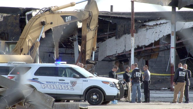 The investigation continues at the Beachwood Plaza on Route 9 in Berkeley Township where a roof collapse during demolition trapped a killed a worker Thursday, September 24, 2015.