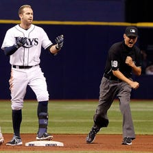 The  Rays  Evan Longoria  reacts after being tagged out at second base in a game against the Angels at Tropicana Field.