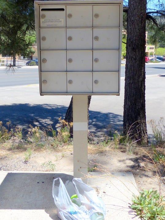 bag near mailboxes