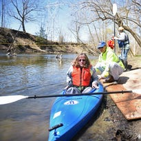 Michelle Brown of Gardiner maneuvers her kayak during the Wappingers Creek Water Derby on Saturday.