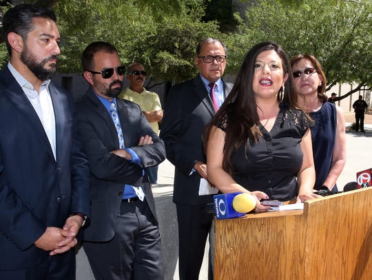 District 75 state Rep. Mary González speaks at a news conference with other members of El Paso's state legislative delegation in Downtown El Paso.