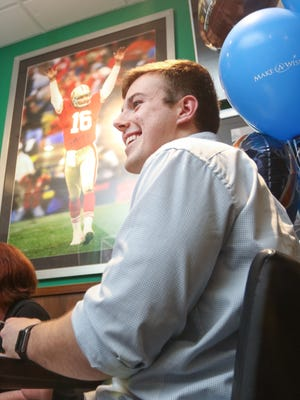 Ryan Lohan, 19, during the gathering at Duffy's Sports Grill in Estero, FL on Wednesday, February 3, 2015.  Thanks to Make-A-Wish, Ryan Lohan, 19, of Bonita Springs, will be attending Super Bowl 50 in California.  Lohan's Germ Cell cancer is currently in remission.  Photo by Gregg Pachkowski