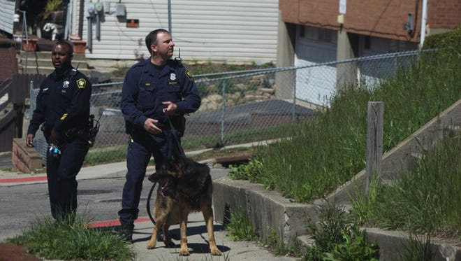 K-9 units search for a suspected shooter around the Cincinnati Zoo Sunday afternoon.