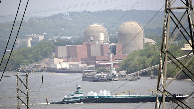A tanker goes pass Indian Point on May 11, 2015, after a transformer explosion released oil into the Hudson River on Saturday.