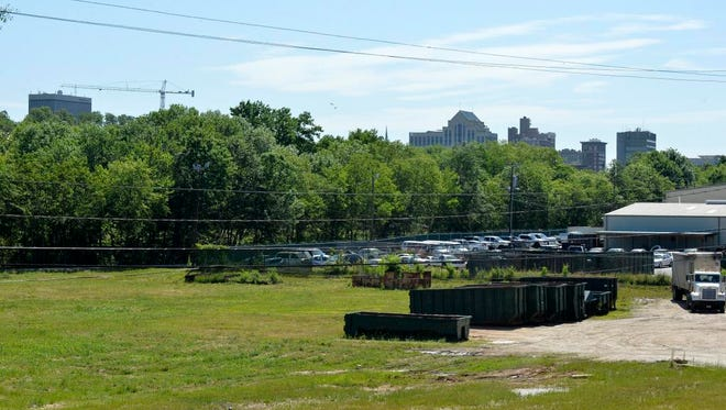 A possible new park would sit near the Swamp Rabbit Trail in downtown Greenville. Photos of the area taken on Wednesday, May 13, 2015.