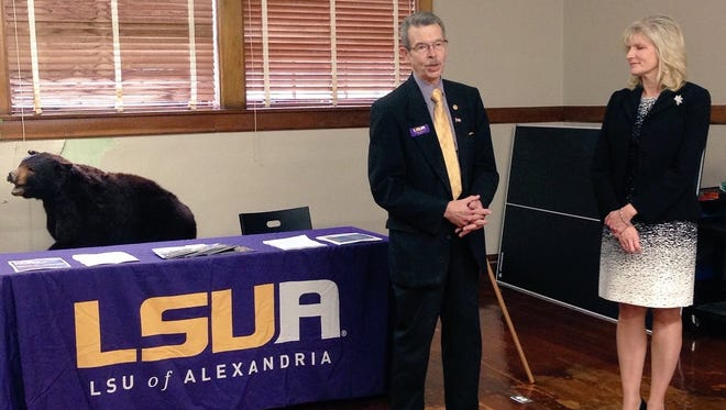 Louisiana State University of Alexandria Chancellor Dan Howard and Kim Bennett, deputy assistant superintendent of curriculum and instruction for Rapides schools, on Monday announce the Bolton Academy of Student Scholars.