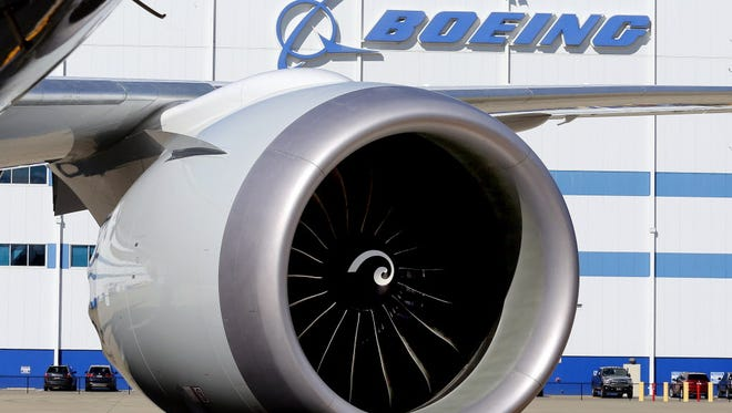 An engine and part of a wing from the 100th 787 Dreamliner to be built at Boeing of South Carolina's North Charleston, S.C., facility are seen outside the plant Feb. 16, 2016.