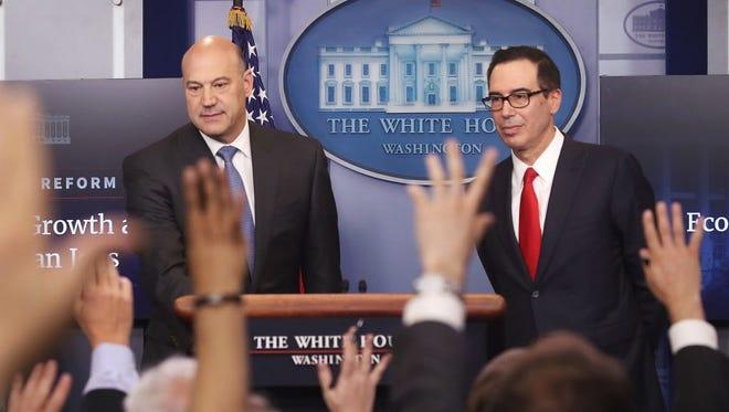 National Economic Director Gary Cohn and Treasury Secretary Steven Mnuchin hold a press briefing detailing President Trump's tax bill on April 26, 2017.