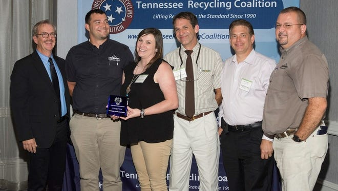 (L-R) Mark Braswell (Tennessee Recycling Coalition) and, William Vanderford, Jessica Banker, Peter Schlosser, Dave Berggren (Owner) & Rich May (Operational Manager) (Red Knight Distribution Center)