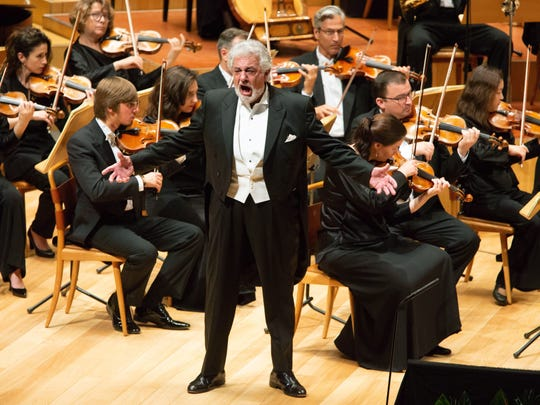 Spanish tenor Placido Domingo performs at Auditorio de Zaragoza during a special play in memory of the 80th anniversary of the death of Spanish tenor Miguel Fleta.