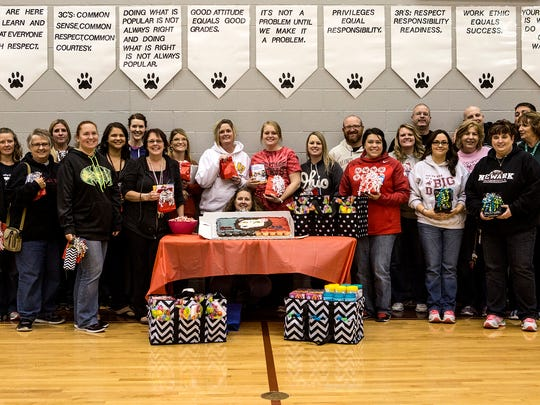 Heritage Middle School teachers were greeted with a surprise assembly Thursday. Walmart donated 20 $50 gift cards to teachers to use in their classrooms to help supplement the money teachers often spend out of their own pockets on supplies.