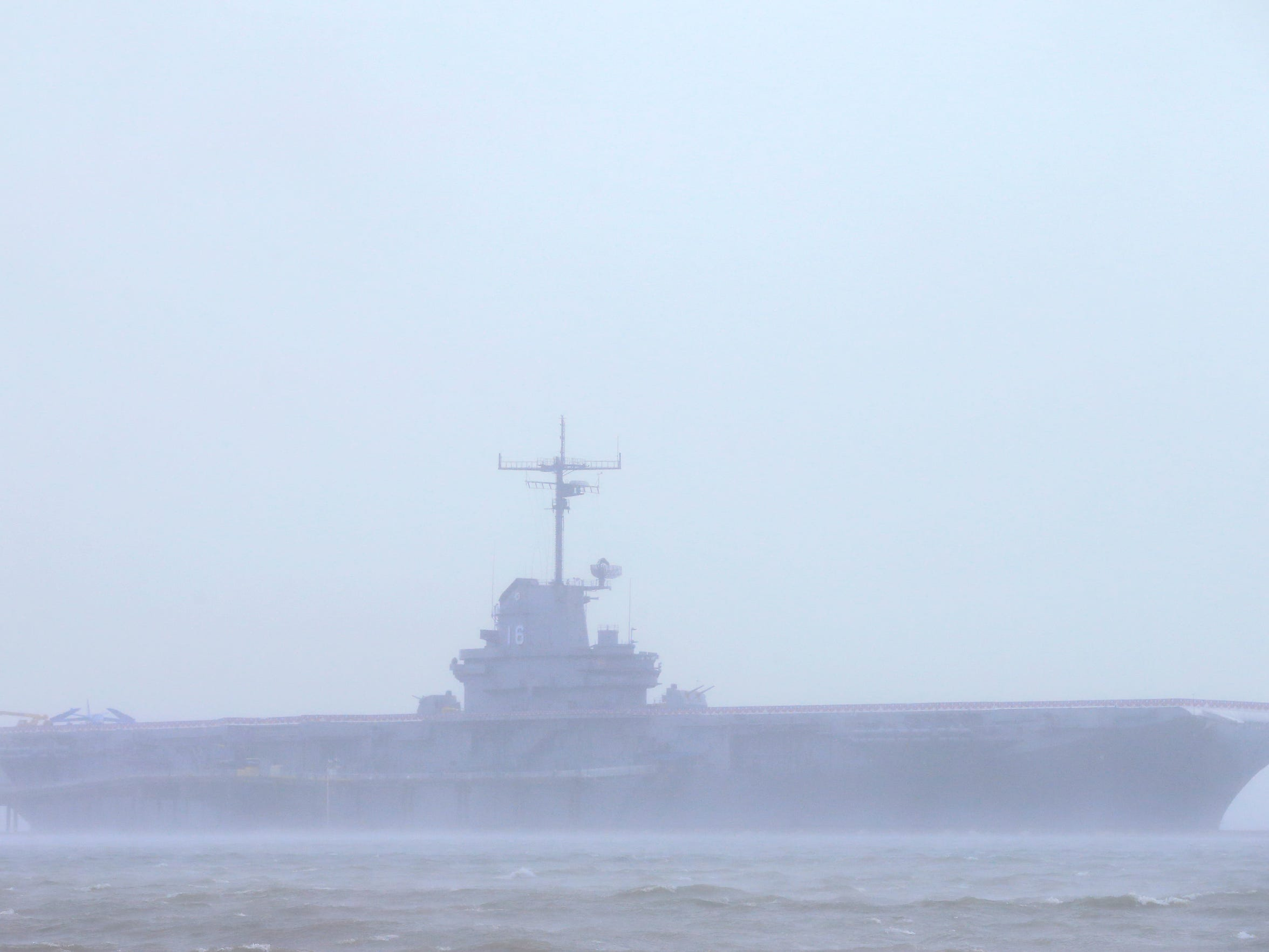 The USS Lexington Museum On The Bay is viewable as rain from Hurricane Harvey falls on Friday, Aug. 25, 2017, in Corpus Christi.