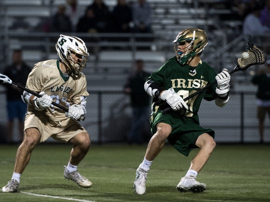 York Catholic's Brennan Witman works the ball around a Bishop Shanahan defender, Tuesday, June 5, 2018. Bishop Shanahan beat York Catholic, 17-5, to advance to the PIAA finals. Tuesday, June 5, 2018. Bishop Shanahan beat York Catholic, 17-5, to advance to the PIAA finals.