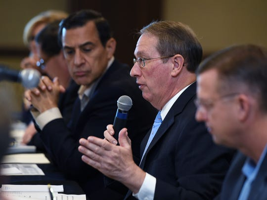U.S. Rep. Bob Goodlatte, chairman of the House Judiciary Committee, middle, host a copyright listening session at Belmont University in Nashville on Tuesday Sept. 22, 2015. Other U.S. Representatives that attended the session were Marsha Blackburn, left, Blake Farenthold, Darrell Issa, and Doug Collins, right.