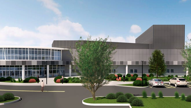 This is an artist's rendering of what the new Family Life Ministries headquarters will look like after the organization remodels the former Gang Mills Harley-Davidson dealership.