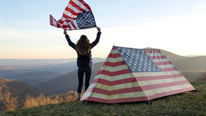 This undated photo provided by the U.K.-based company Field Candy shows their American flag themed tent design. The company is known for its interesting and unusual tent designs.