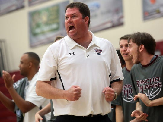 Rancho Mirage High School coach Rob Hanmer pumps his