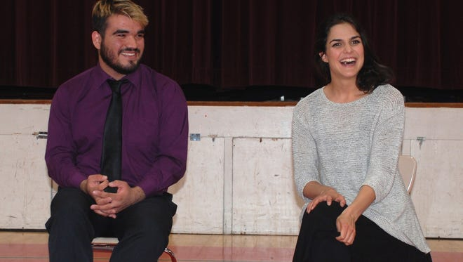 """Following their children's opera performance, pianist Seth Zamora and soprano Tara Khozein held a question and answer session with their school audience. The pair performed highlights from """"La Boheme,""""  """"Marriage of Figaro"""" and the """"Barber of Seville"""" in the school gym. Student volunteers donned costumes to create the parts in the various operas."""