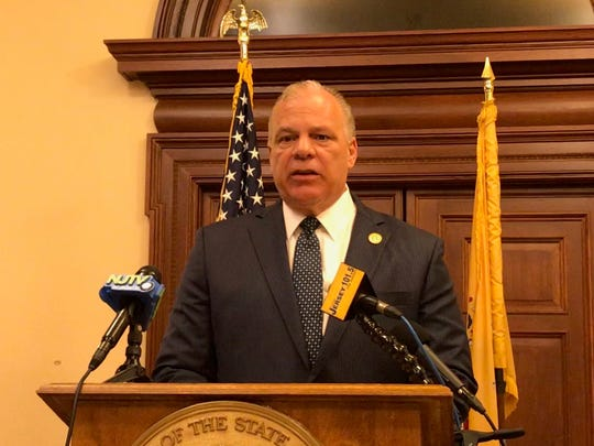 Senate President Stephen Sweeney, D-Gloucester, speaks during a news conference at the Statehouse on May 31, 2018.