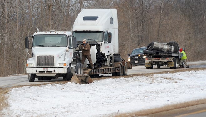 U.S. 35 eastbound was closed Thursday morning while crews cleared the scene of a crash involving two semis and third vehicle early Thursday morning about a mile west of County Road 87/Frankfort Clarksburg Pike.