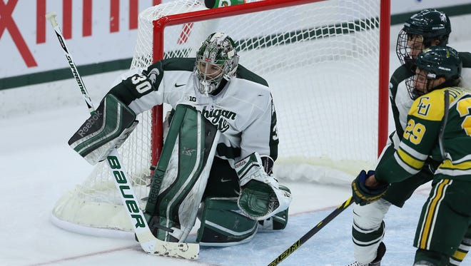 Michigan State junior Jake Hildebrand leads the Big Ten with a 2.41 goals-against average and a .918 save percentage.