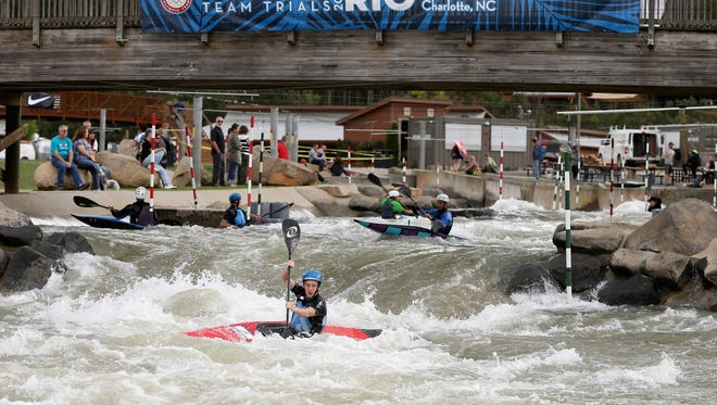 A competitor practices ahead of the Canoe/Kayak U.S. National Team Trials at the U.S. National Whitewater Center on April 7, 2016 in Charlotte, North Carolina.